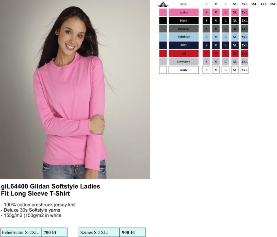 Gildan L644000 női t-shirt hosszú ujjú  4957d05725