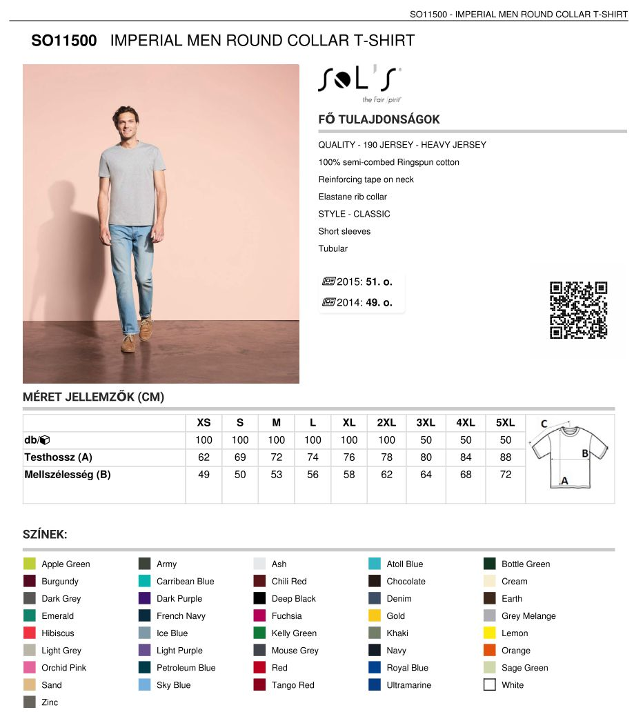 23766fa6dd Sol's SO11500 férfi t-shirt   Pólónyomás, szitanyomás. Pólók ...