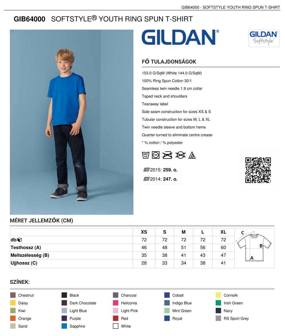 4cefa95f08 Gildan GIB6400 gyermek t-shirt   Pólónyomás, szitanyomás. Pólók ...